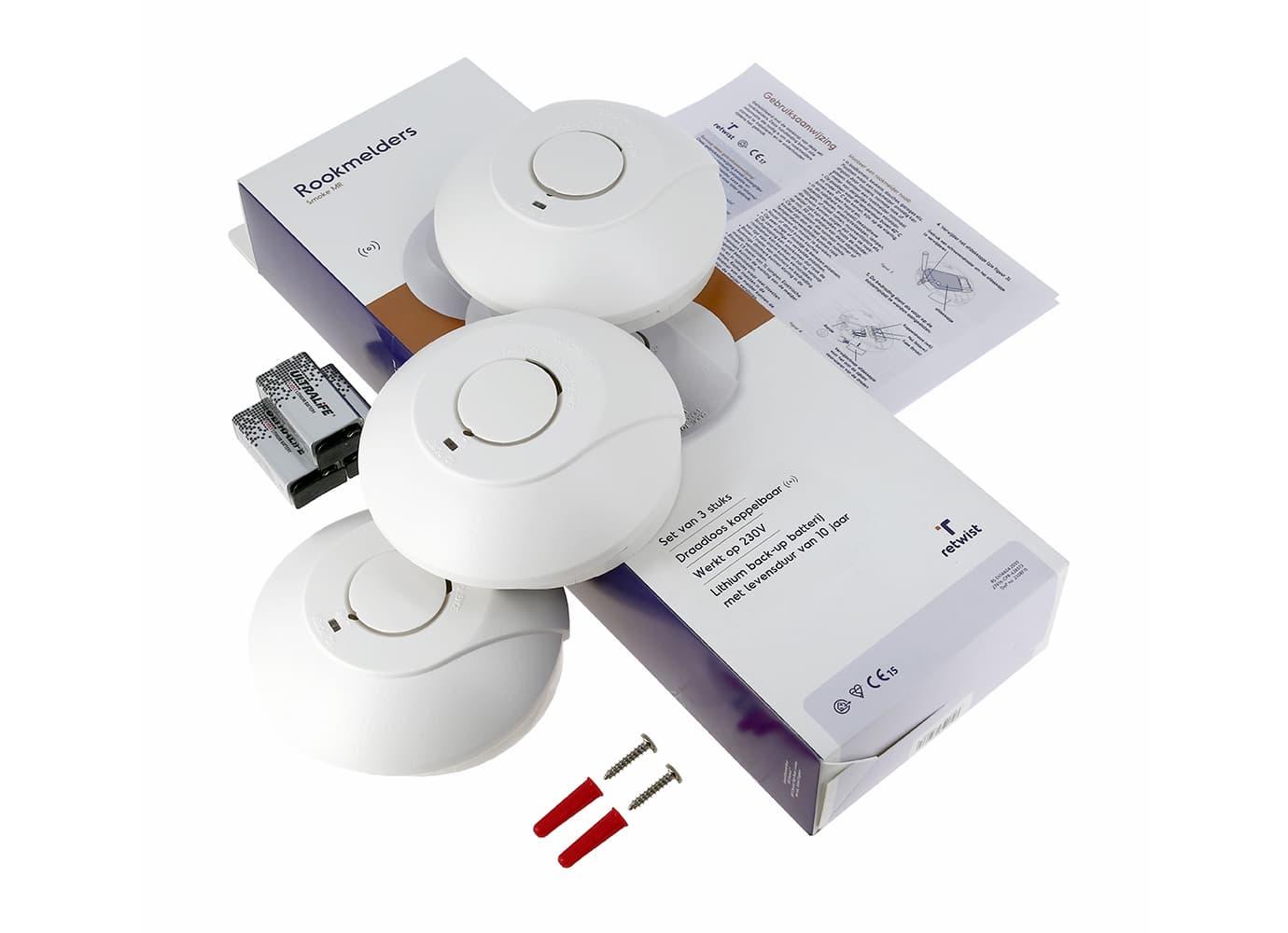 Smoke MW | 3-pack | 230V | Bedraad koppelbaar